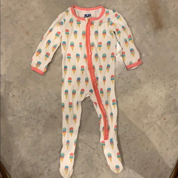 Kickee Pants Toddler Girl Natural Ice Cream Coverall w Zipper 12-18 Months New